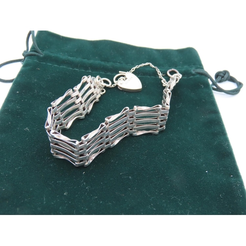 10 - Silver Set Ladies Five Link Gate Bracelet with Heart Motif Locket Clasp with Silver Necklace Two Ite...