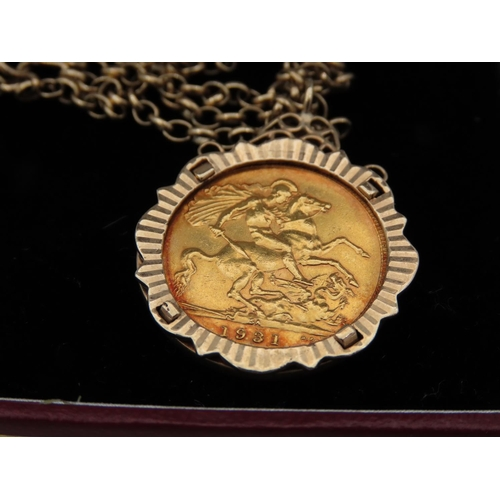 11 - Full Sovereign Dated 1931 Mounted in 9 Carat Gold Case with Chain 9 Carat Yellow Gold Approximately ...