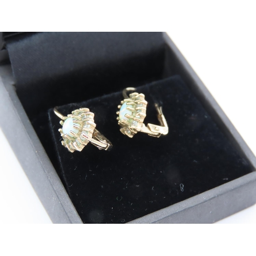14 - Pair of Opal Set Diamond Cluster Earrings Mounted on 9 Carat Yellow Gold