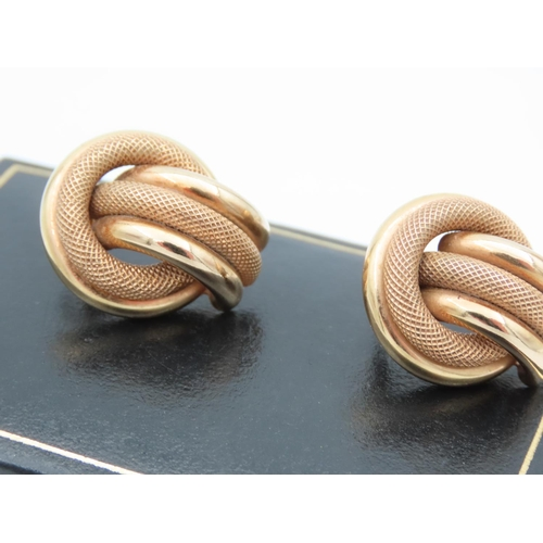 15 - Pair of Modernist 9 Carat Yellow Gold Twist Motif Earrings of Attractive Form