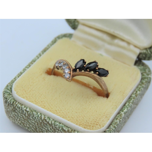 16 - 9 Carat Diamond and Sapphire Set Wishbone Motif Ladies Ring Size V