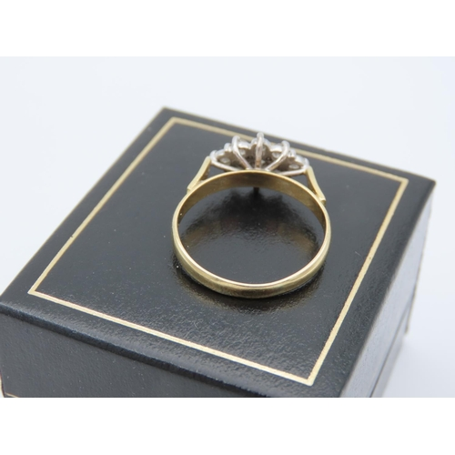 2 - 18 Carat Yellow Gold Set Diamond Cluster Ring Attractive Colour Ring Size R