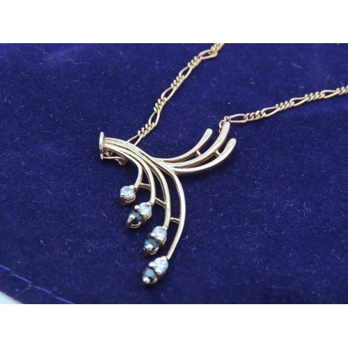21 - Sapphire and Diamond Spray Motif Ladies Pendant Necklace Mounted on 9 Carat Gold Further Set on 9 Ca...