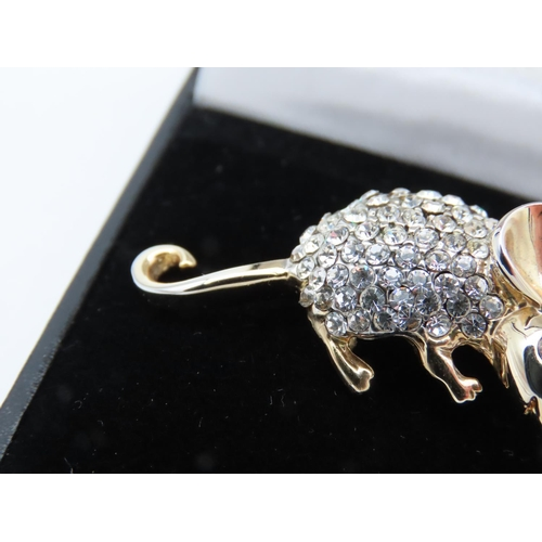 22 - 9 Carat Gold and Diamond Set Mouse Motif Ladies Brooch Attractively Detailed