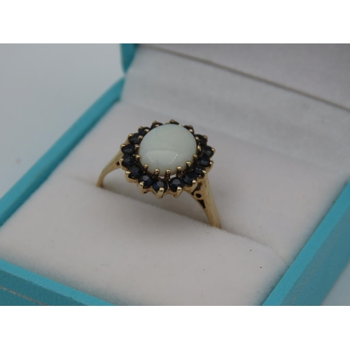 24 - Opal and Sapphire Ladies Cluster Ring Mounted on 9 Carat Yellow Gold Ring Size Q and a Half