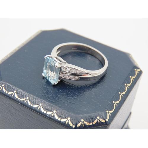 26 - Aquamarine and Diamond Set Ladies Ring Mounted on 18 Carat White Gold Attractively Detailed Ring Siz...