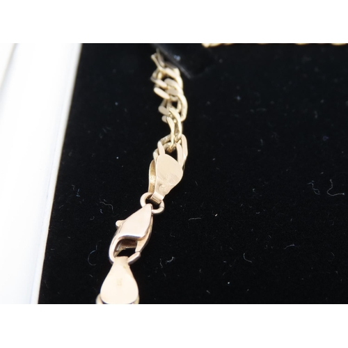 28 - 9 Carat Yellow Gold Flat Link Ladies Necklace Approximately 30 Inches Long