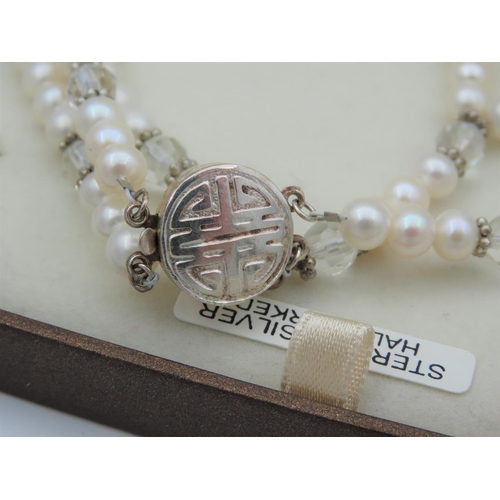 29 - Noriko Ladies Pearl Necklace Attractive Lustre and Hue Silver Mounted with Detailed Clasp