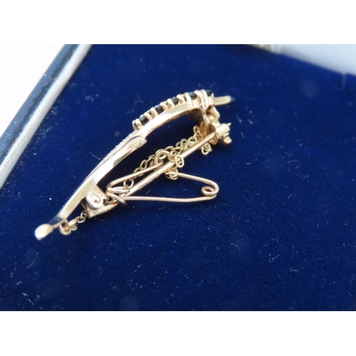 3 - Sapphire and Diamond Ladies Floral Motif Brooch Mounted on 9 Carat Yellow Gold