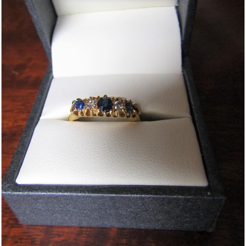 Sapphire and Diamond Ladies Line Ring Mounted on 18 Carat Gold Band Ring Size L Sapphires of Deep Hue