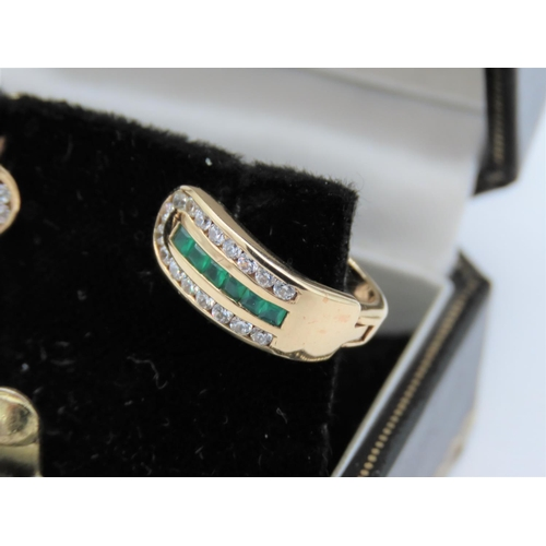 35 - Pair of Emerald and Diamond Ladies 9 Carat Yellow Gold Mounted Earrings Modernist Form Good Colour