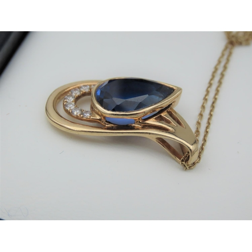 36 - Sapphire and Diamond Ladies Necklace Mounted on 9 Carat Yellow Gold Further Set on 9 Carat Gold Chai...
