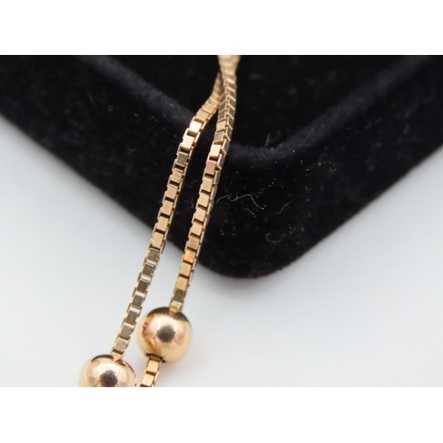 37 - Ladies 9 Carat Yellow Gold Necklace with Spherical Insets Approximately 24 Inches Long
