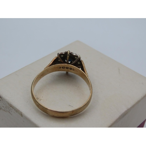 38 - Sapphire and Diamond Ladies Cluster Ring Mounted on 9 Carat Yellow Gold Band Ring Size V and a Half