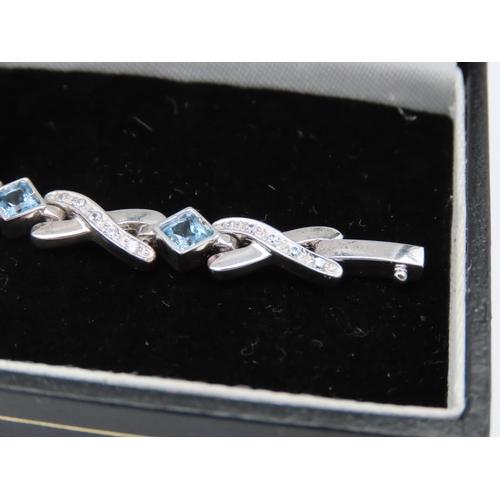 39 - Aquamarine and Diamond Ladies Bracelet of Interlinking Form Mounted on 9 Carat White Gold Attractive...