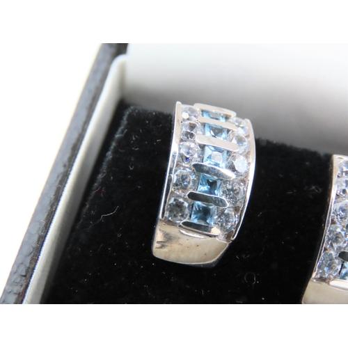 40 - Pair of Aquamarine and Diamond Set Ladies Earrings Mounted on 9 Carat White Gold