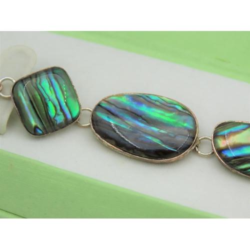 42 - Boulder Opal Set Ladies Bracelet Mounted on Silver Good Pin Fire