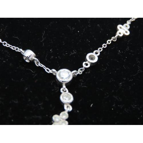 46 - Ladies Silver Mounted Gemstone Necklace with Matching Pair of Earrings Contained within Original Pre...