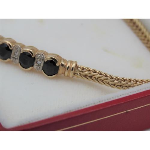 49 - Sapphire and Diamond Ladies Panel Set Bracelet Mounted on 9 Carat Yellow Gold Attractive Form Good C...