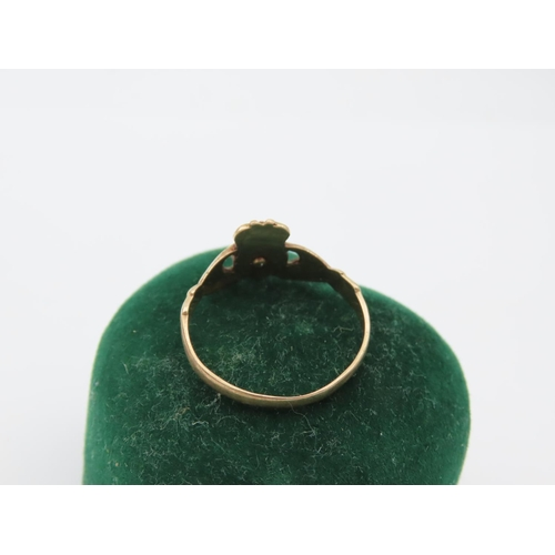 5 - 9 Carat Yellow Gold Diamond Set Ladies Claddagh Ring Size R