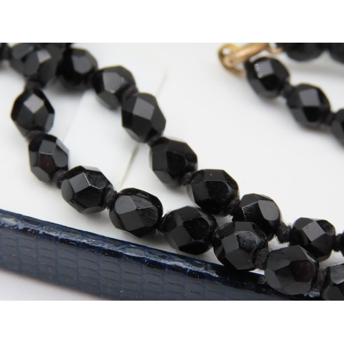 51 - Ladies Jet Flapper Necklace Deep Hue Attractive Even Colour Approximately 48 Inches Long