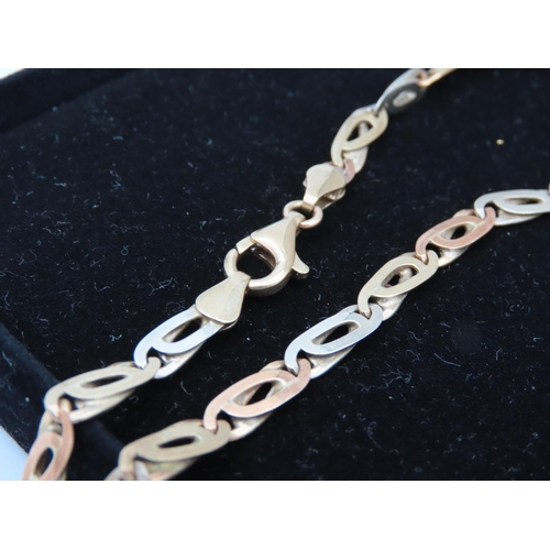 52 - 9 Carat Yellow Gold Flatlink Ladies Necklace Approximately 17 Inches Long