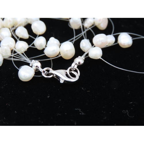 53 - Silver Set Modernist Form Ladies Pearl Necklace Attractively Detailed
