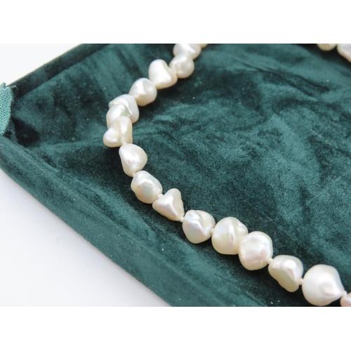 57 - Ladies Natural Pearl Necklace with Silver Clasp Contained within Presentation Box