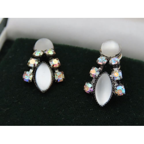 59 - Two Pairs of Ladies Earrings Moonstone Set and Pearl Set Both Attractively Detailed
