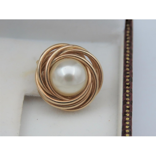 6 - Pair of Pearl Set Mabe Earrings Mounted on 9 Carat Yellow Gold Attractive Colour and Lustre