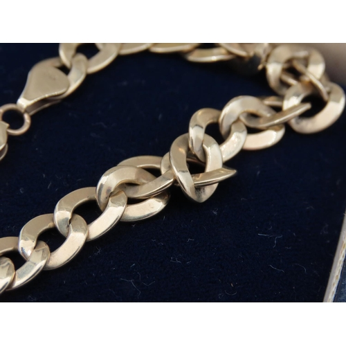 7 - 9 Carat Yellow Gold Flat Link Bracelet Articulated Form
