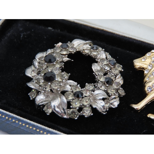 9 - Three Vintage Ladies Brooches Costume Jewellery Attractively Detailed
