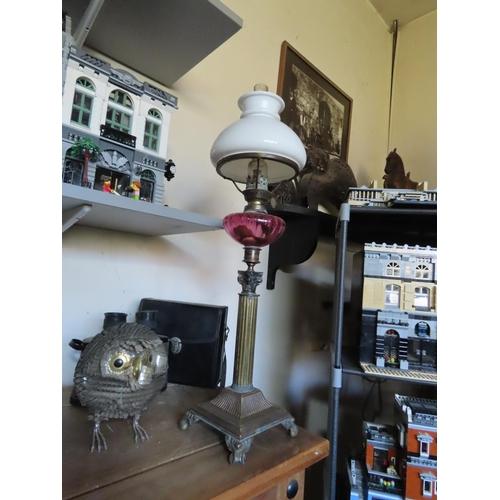 1 - Victorian Oil Lamp Glass Top Cranberry Reservoir Brass Corinthian Column Base Approximately 24 Inche...