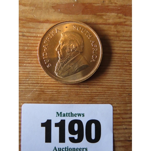 1190 - Gold Krugerrand South Africa 1974 One Oz Gold Coin