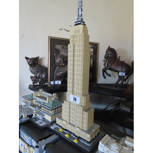 16 - Vintage Lego Empire State Building Set Approximately 19 Inches Tall