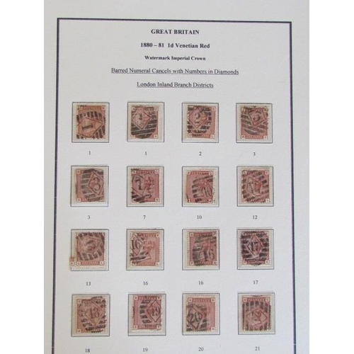 Great Britain 1D Venetian Red Stamps, Used in Good Condition 1880-1881 Based in London Inland District Branch