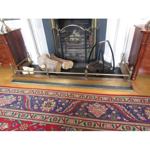Antique Cast Brass Fire Guard Approximately 5ft 6 Inches Wide Sides Approximately 22 Inches Deep