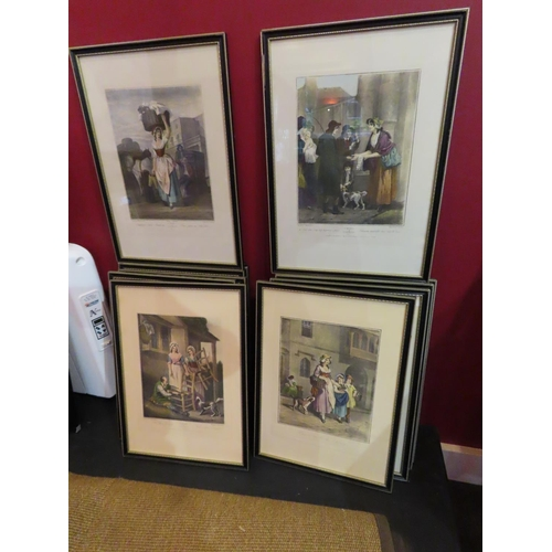 Full Set of Thirteen Wheatley's Cries of London Coloured Engravings Contained within Gilded and Ebonised Frames Each Approximately 20 Inches High x 13 Inches Wide
