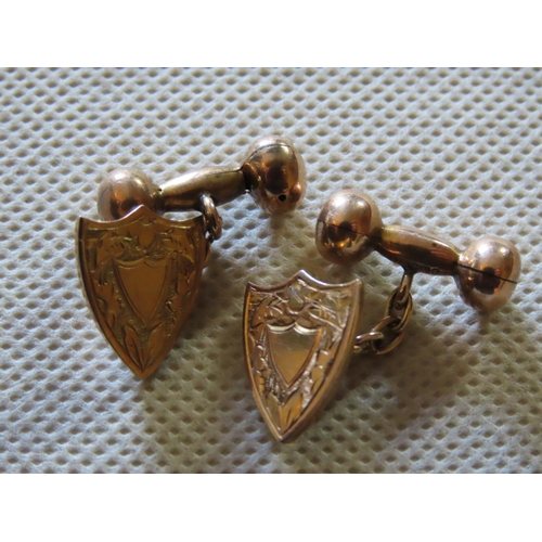 27 - Pair of Antique Gents Cufflinks with Shield Motif 9ct Gold