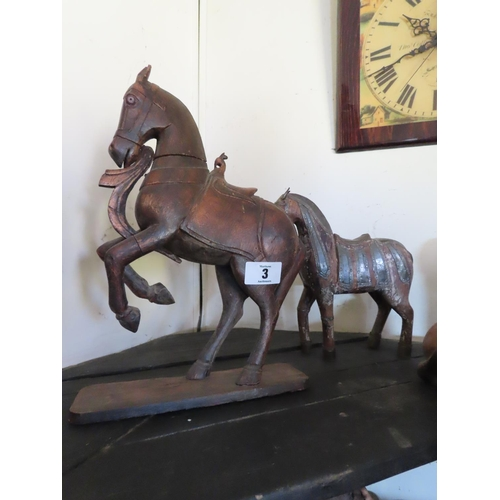 3 - Two Carved Wooden Horse Ornaments Largest Approximately 18 Inches Tall