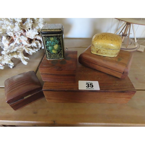 35 - Collection of Vintage Wooden Boxes Largest Approximately 8 Inches Long and Five Others