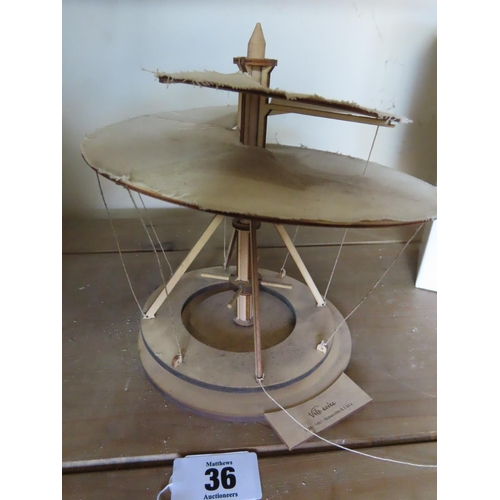 36 - Vintage Leonardo da Vinci Model Signed 'Vite Aevea' Approximately 8 Inches Tall