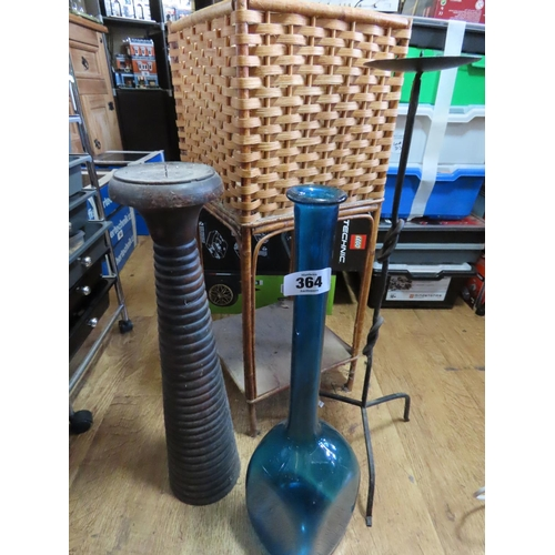 Collection of Items Including Blue Glass Vase, Two Candle Holders and Wicker Plant Stand Approximately 26 Inches Tall