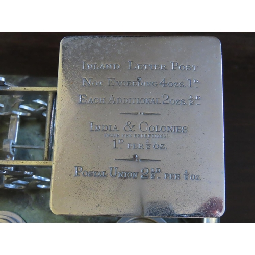 37 - Vintage Reproduction Postal Scales Green Marble Base Full Compliment of Weights Chrome Finish Approx...