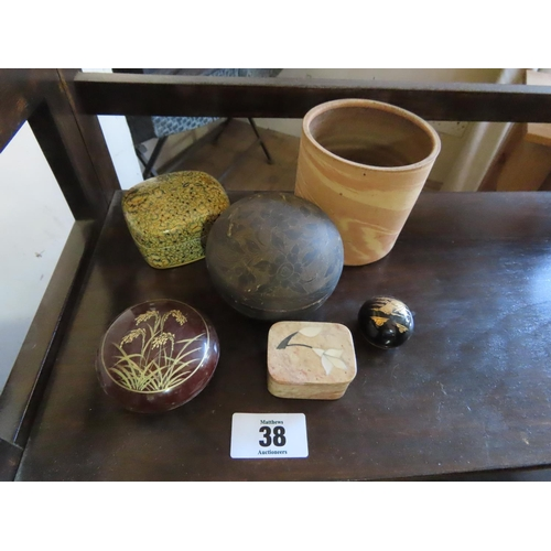 38 - Collection of Stone and Papiere Mache Boxes Six in Total