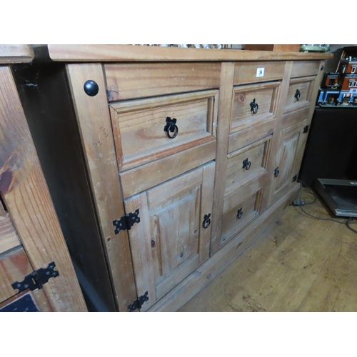 39 - Solid Pine Cabinet of Five Drawers and Two Cupboard Arrangement 33 Inches Tall x 50 Inches Long x 18...