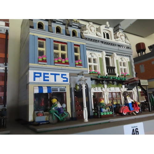 46 - Lego Street Scene Including Pet Shop, 'Chez Albert' Restaurant and Figures Approximately 12 Inches T...