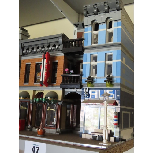 47 - Lego Pool Hall Including 'Alis' Barbers, 'Ace Brickman' Private Detective and Figures Approximately ...