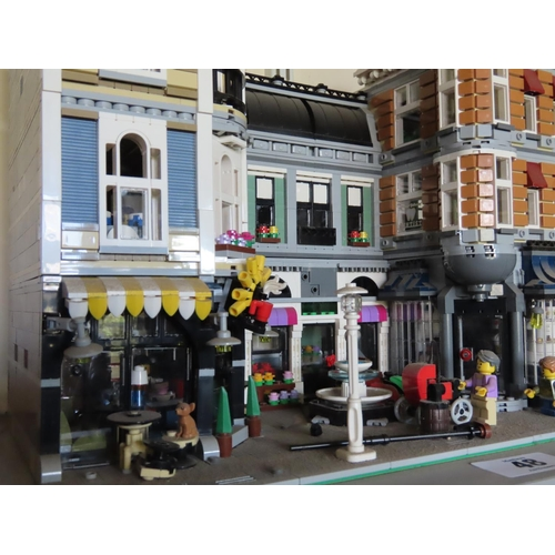 48 - Lego Plaza Scene Set Including Figures Approximately 16 Inches Wide x 12 Inches Tall