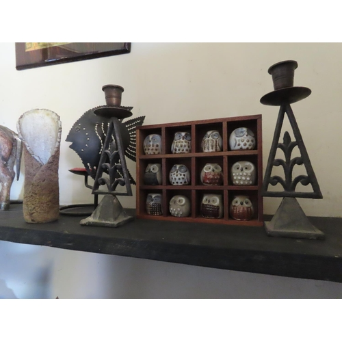 5 - Collection of Ornaments Including Cased Porcelain Owls and John Kershaw Studio Pottery Vase